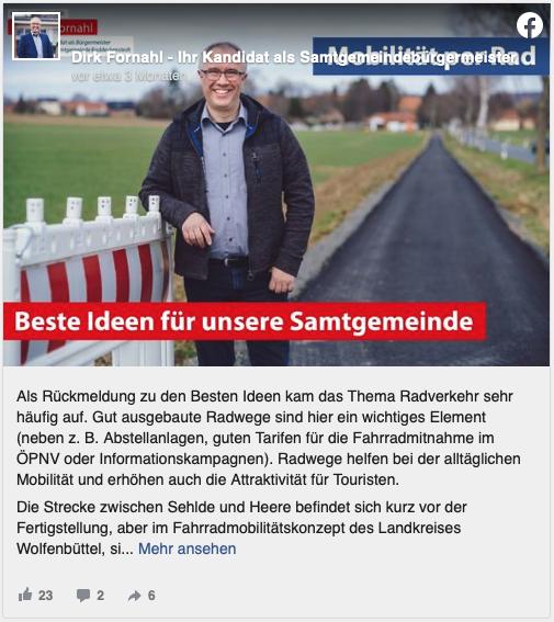 Dirk Fornahl steht auf einem Radweg