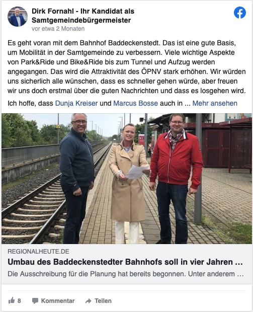 Dirk Fornahl steht mit Dunja Kreiser und Marcus Bosse am Bahnhof